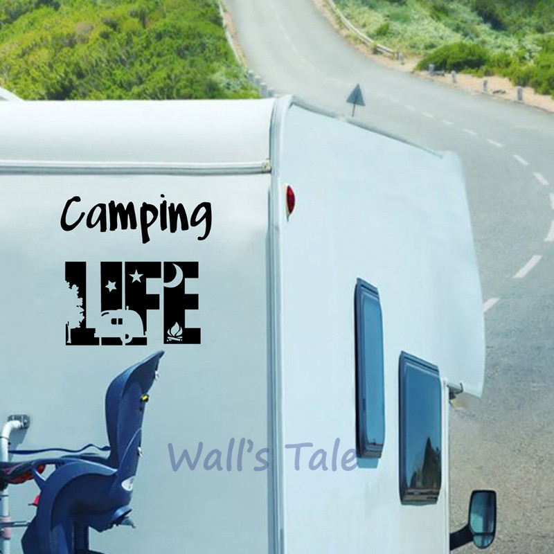 Camping Life Tent Vinyl Art Sticker Motorhome Door Window Glass Decor Camper Decals RV Travel Trailer Art Mural Decoration(China)