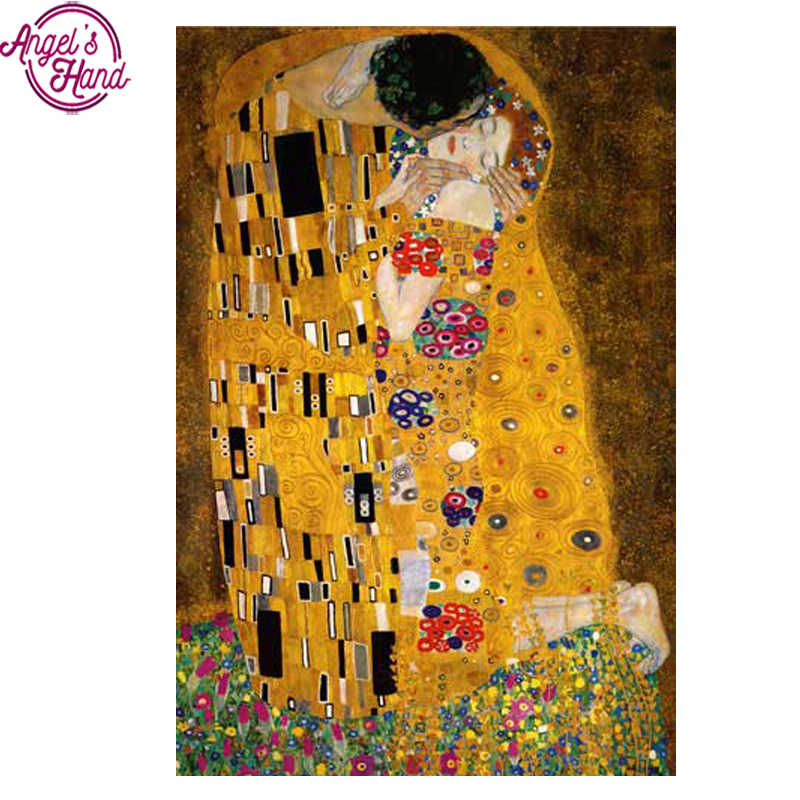 Full Square Diamond 5D DIY Diamond Painting Gustav Klimt The Kiss Embroidery Cross Stitch Rhinestone Mosaic Painting Decor Gift