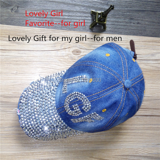 Lgfd Customize Diy Women Custom Letter Words Anchor Crown Diamond Full Bling Denim Baseball Caps Rhinestone Snapback