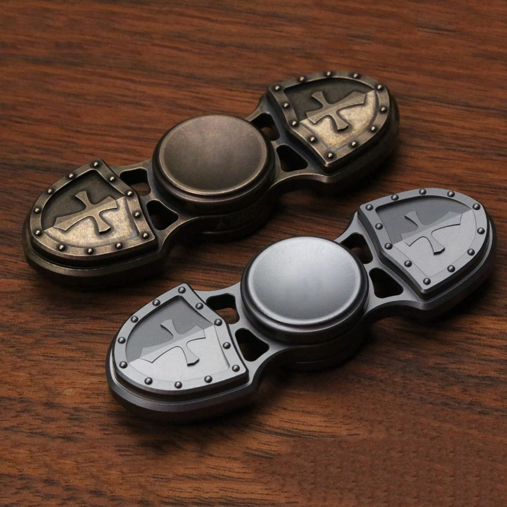 Retro Alloy Cross Shield Hand Spinner Finger Focus EDC Desk Toy Kids Adult Gift