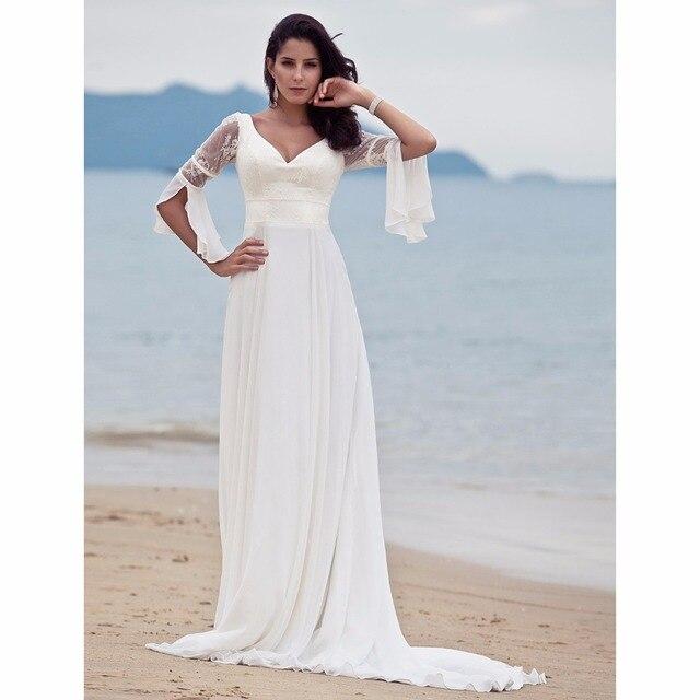 LAN TING BRIDE Backless A Line Beach Wedding Dress V neck 3/4 sleeve ...