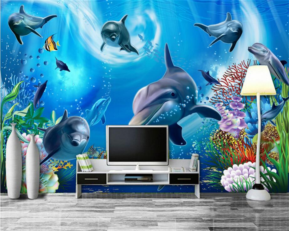 Aquarium Im Schlafzimmer Us 9 40 Off Aliexpress Beibehang Custom Tapete 3d Unterwasser Welt Aquarium Kinderzimmer Cartoon Hintergrund Wand Wohnzimmer Schlafzimmer Tv