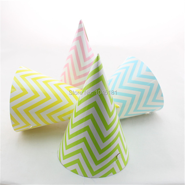 Best Quality 2400pcs Lot Handmade Paper Party Hats Chevron Striped Dot Patterns Kids Adult