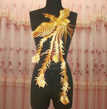 33*70cm vintage mesh gold phoenix embroidery national performance diy Accessories Detachable Collar R917