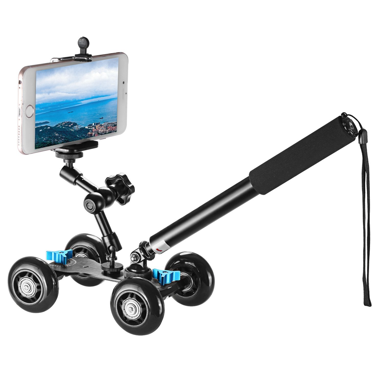 Image 2 - Camera Dolly Kit Mobile Rolling Sliding Dolly Stabilizer Skater Slider Hand Held Monopod 7 inches Adjustable Friction Magic Arm-in Photo Studio Accessories from Consumer Electronics
