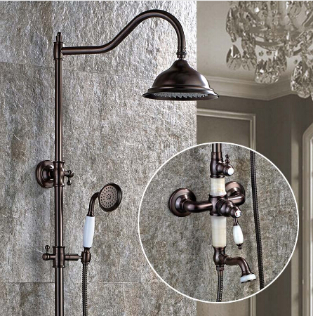 Luxury Jade Deco Oil Rubbed Bronze Bath Rainfall Shower Faucet Set Tub Tap with Hand Spray wall Mounted Bath & Shower Faucet