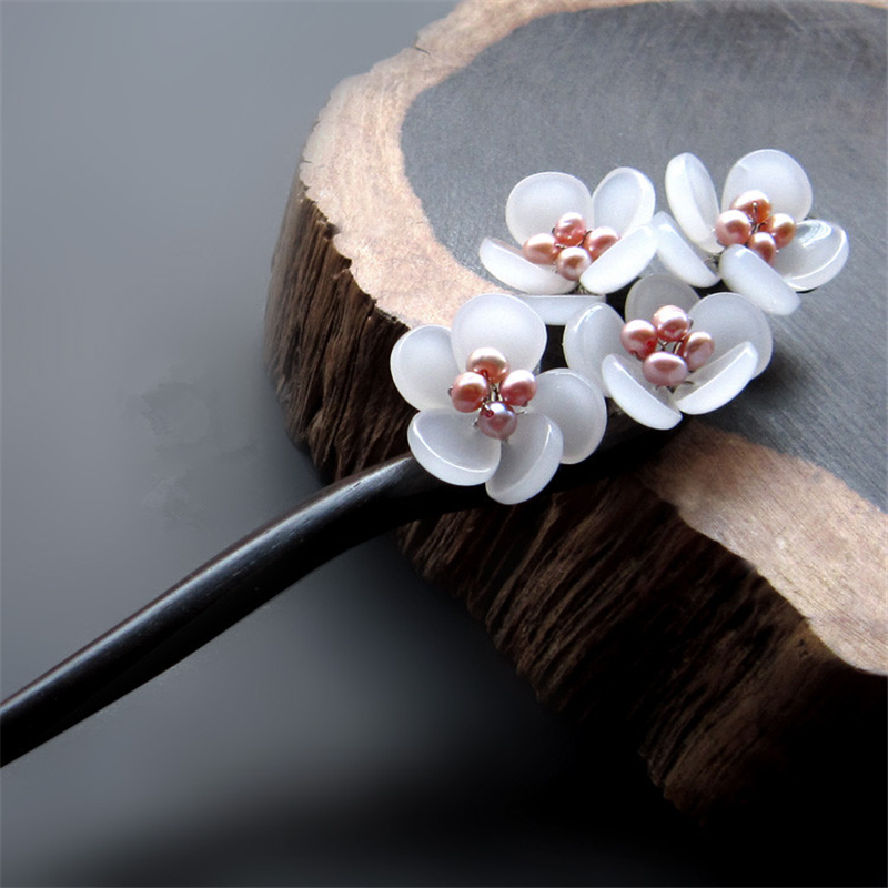 Ebony Hair Stick Fresh Water Pearl Azure Stone Flower Sticks Hair Pin Chinese Jewelry Vintage Wooden Hair Accessories WIGO0791 jadite chinese painting ink hair stick original vintage handmade classical hanfu hair accessory hair stick antique copper stick