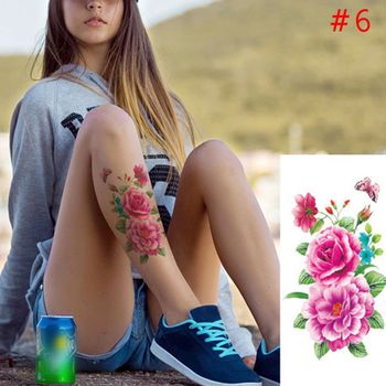 1PC New Fashion Removable Women Lady 3D Flowers Waterproof Temporary Tattoo Stickers Beauty Body Art Easy Wear And Easy Clean 1