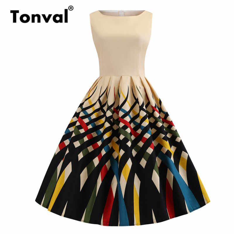 8c6b60ecd29 Подробнее Обратная связь Вопросы о Tonval многоцветный принт винтажное ретро  платье большой размер 4XL Pinup Плиссированное Платье женское плюс размер  ...