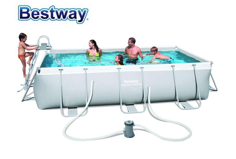 56441 Bestway 404*201*100cm Large Swimming Pool Rectangular Frame Pool For Home & Baby Above Ground Pool For Children & Parents