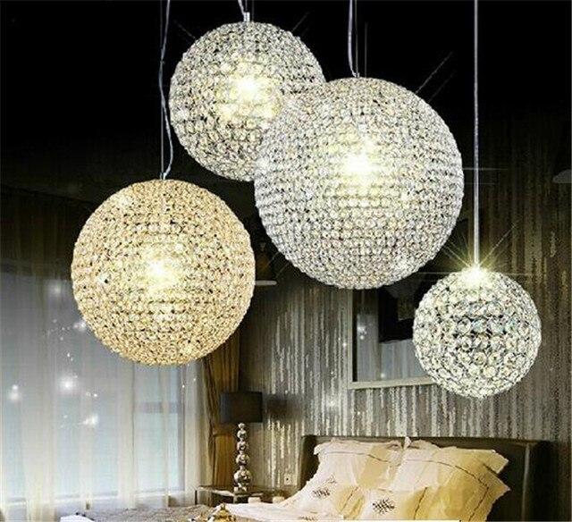 Pequeno ou Grande Bola abajur Lustre de Cristal Pingente luzes moderno D15/20/25/30/40/50 cm sala de estar quarto sala de jantar iluminação