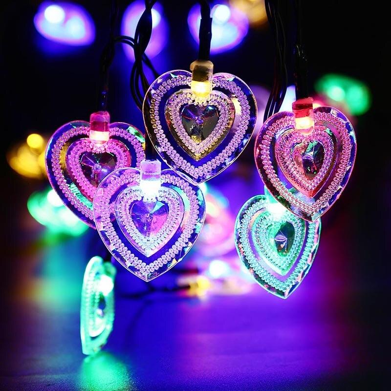 4.8M New Arrive 20 LED Heart Shape Solar Fairy String Light Waterproof Solar Powered Outdoor Light Garden Lamp Christmas Decor