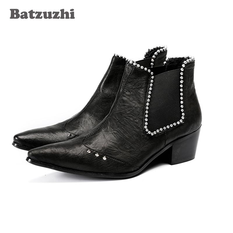 Batzuzhi 6.5cm Heel Boots Men Pointed Toe Black Leather Ankle Boots with Crystals Men's Party Dress Shoes Botas Hombre,US12 EU46 все цены
