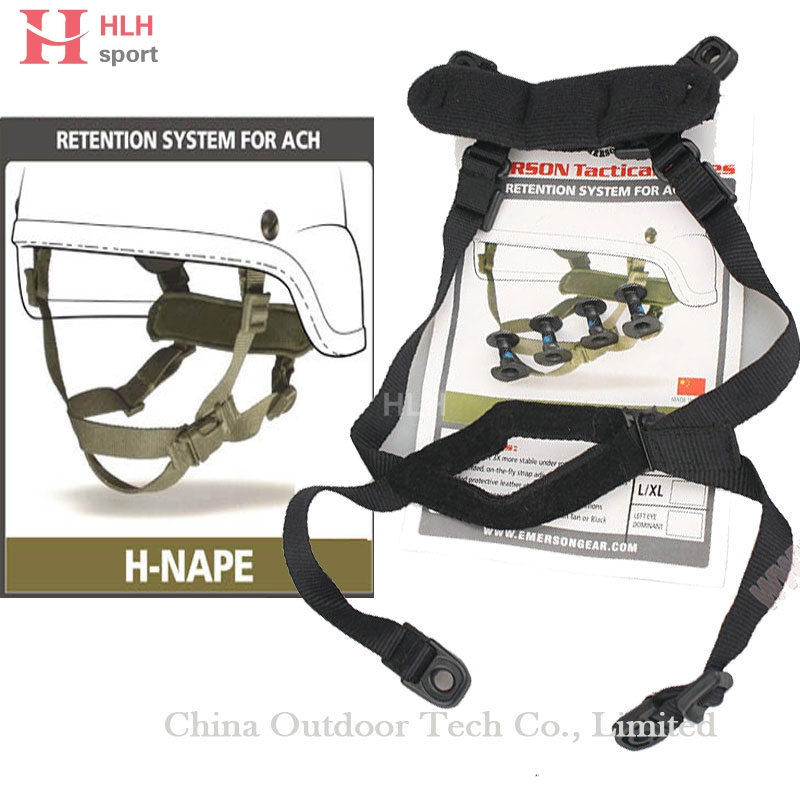 Hlhlsport Helmet Retention System H-Nape Military Airsoft Paintball Helmet Accessory System Strap Black Tan