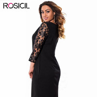 Lace Sleeve Plus Size Women Loose Casual Office Dresses 5XL Big Size Long Bodycon Dress Red