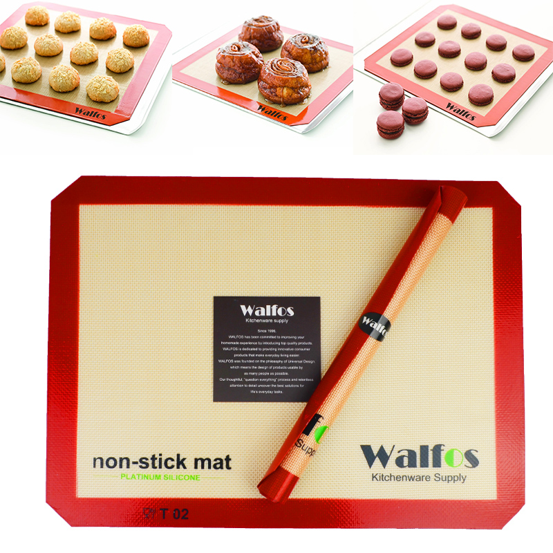 walfos brand baking sheet liner non stick silicone baking mat non stick baking cookie liner. Black Bedroom Furniture Sets. Home Design Ideas