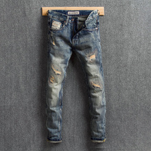 Vintage Designer Men Jeans Retro Wash Slim Destroyed Ripped Jeans Men Denim Distressed Pants Embroidery Patchwork Hip Hop Jeans mens distressed jeans ripped patchwork slim straight jeans darked wash print velvet lining warm jeans for men 15803
