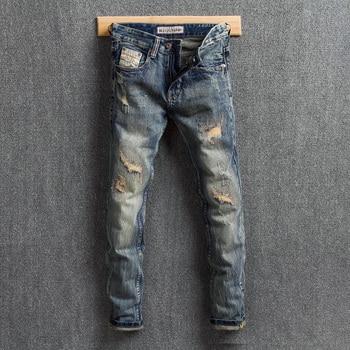 цена на Vintage Designer Men Jeans Retro Wash Slim Destroyed Ripped Jeans Men Denim Distressed Pants Embroidery Patchwork Hip Hop Jeans