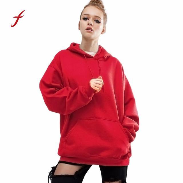 73b58b8c67b Women Large Pulse Size Loose Oversize Casual Red Hoodie Sweatshirt Pocket Girls  Female Spring Fall Casual