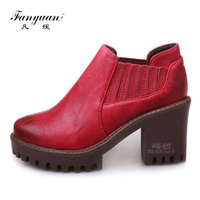 Fanyuan Big size 32 43 Elastic Band Mujer Zapatos Vintage Round Toe Women' s high Pumps Solid Platform Ladies Ultra High Heels