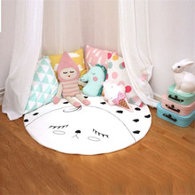 Baby Blanket Cotton Infant Play Game Blanket Cute Kids Room Game Mat Wrap Pad Funny Baby Bedding Set Soft Newborn Round Blanket