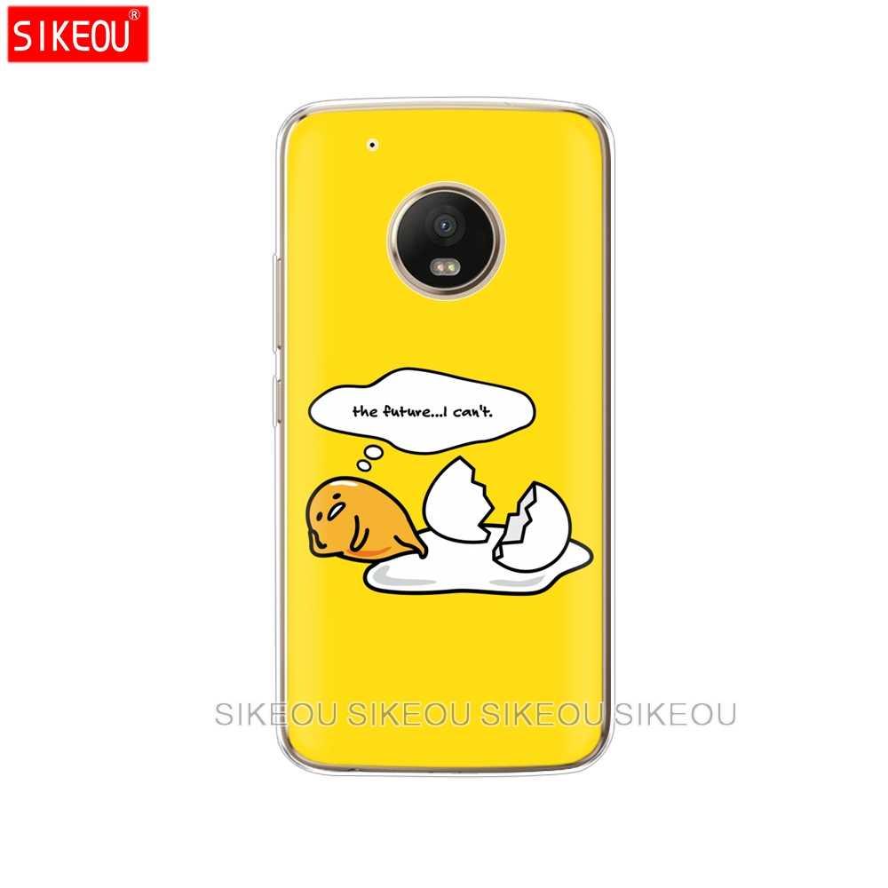 シリコーンケース電話カバーモトローラモト G6 G5 G5S Z2 Z3 再生プラス X4 E4 E5 C かわいい gudetama 怠惰な卵
