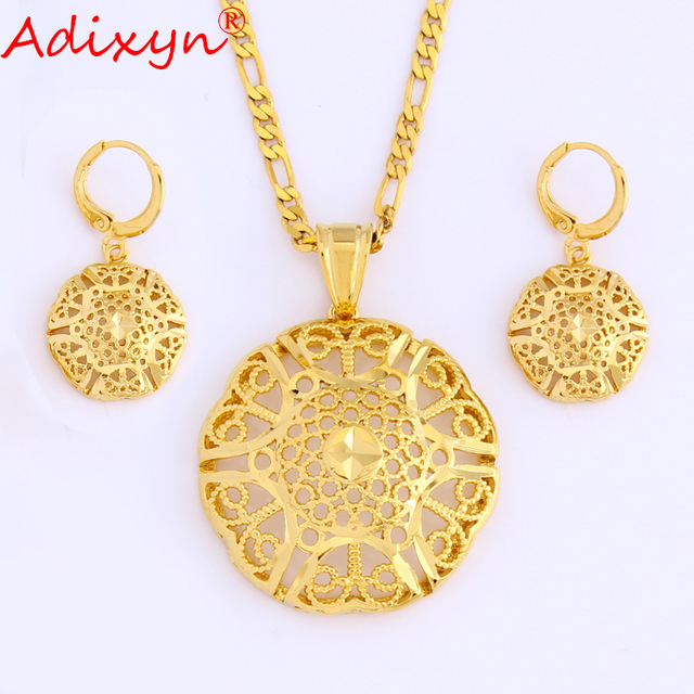 Adixyn Gold Color Jewelry Sets Hollow Figaro Chain Necklace&Earring&Pendant For Women/Girls Gift N08232
