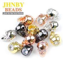 JHNBY 4pcs Skull Pendant Copper Spacer beads Inlay zircon metal Charms Loose beads for Jewelry bracelet making DIY Accessories()