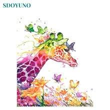 Sdoyuno 60x75 см нарисованная цифра рамка Жираф масляная краска