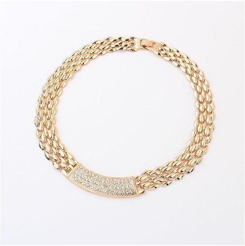 Europe and the United States the simple and refined metal crystal necklace+ FREE SHIPPING# 97747#F46