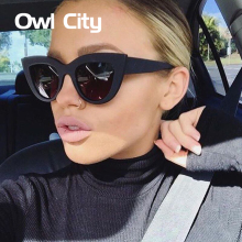Owl City Cat eye Sunglasses Women Vintage Ladies Sunglass Retro Brand Designer Sun Glasses Female Pink Mirror Eyewear UV400