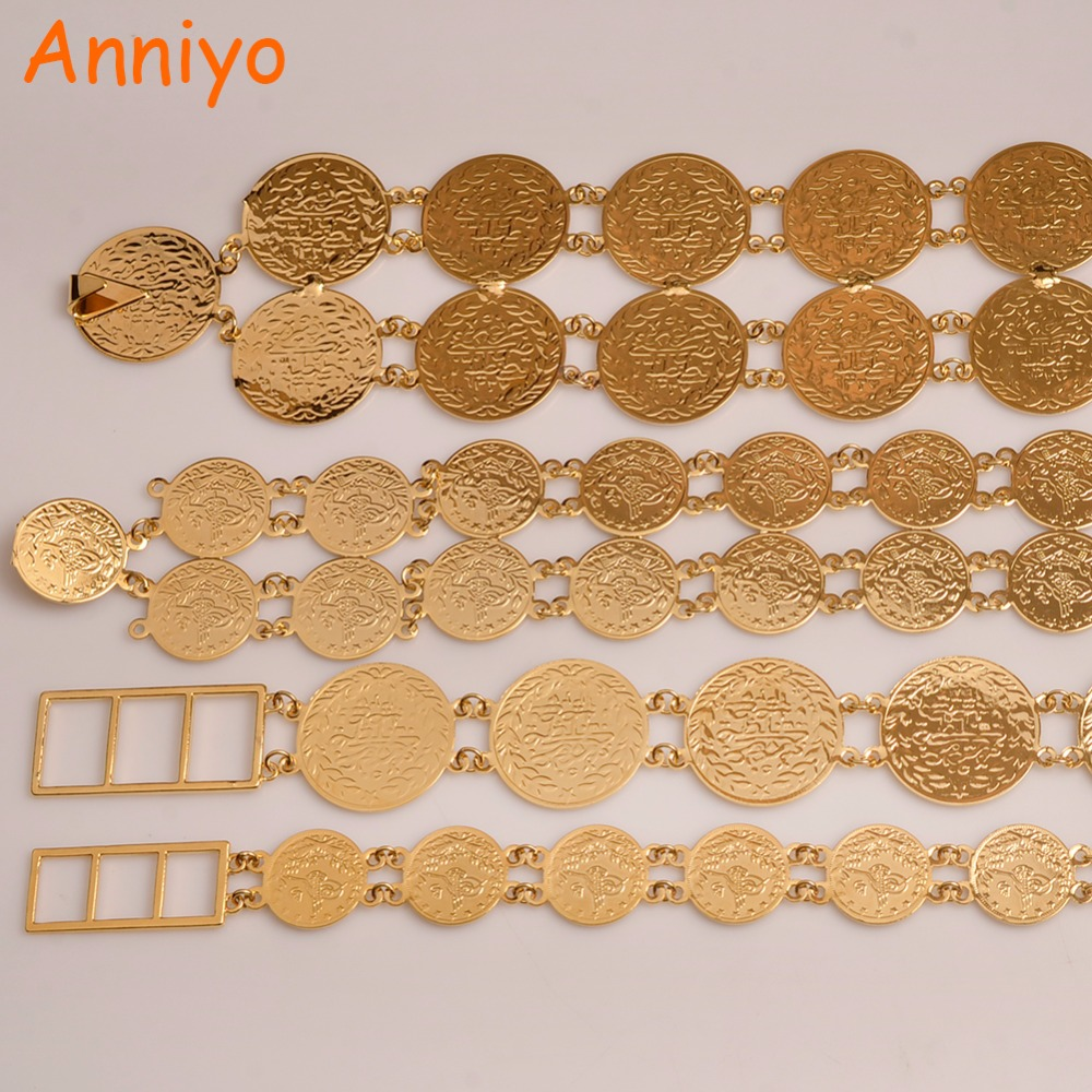 Anniyo (4 styles & Size) Belly Chains for Women Gold Color Turkish Coins Belt Jewelry Middle East Oman Iraq Kurdish Coin #010701 anniyo wholesale coin bracelet for women arab chain middle eastern gift gold color coins jewelry middle eastern wedding 048006