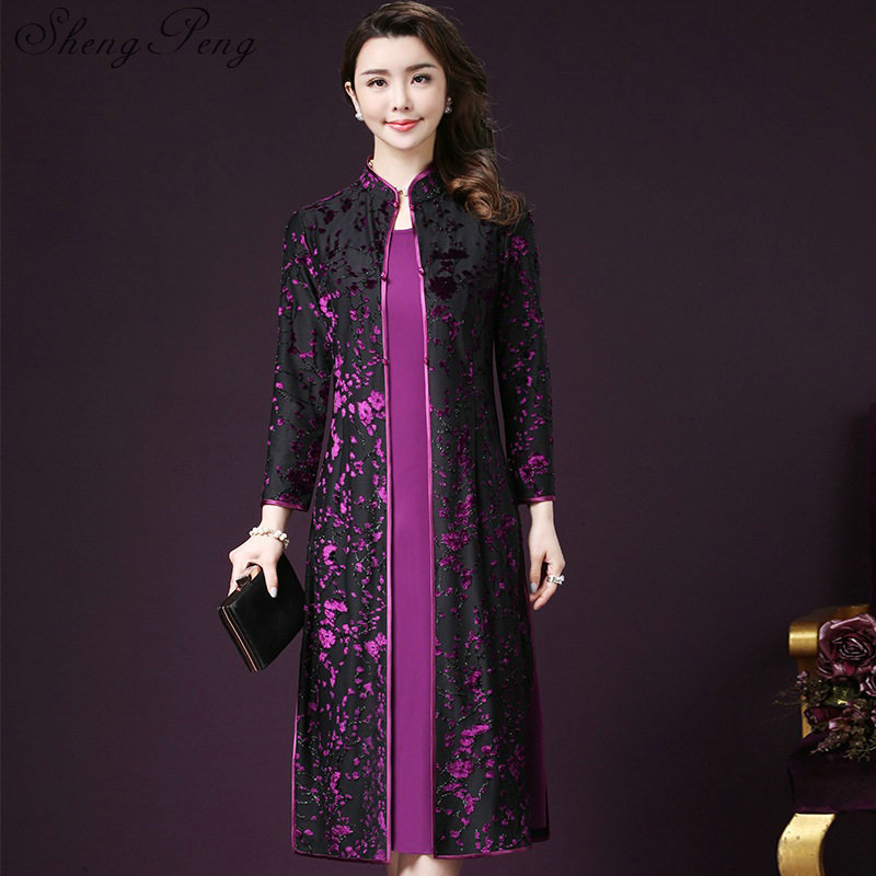 Traditional Chinese Clothing Women Dress Silk Long Oriental Robe Floral Print Chinese Traditional Gown CC511