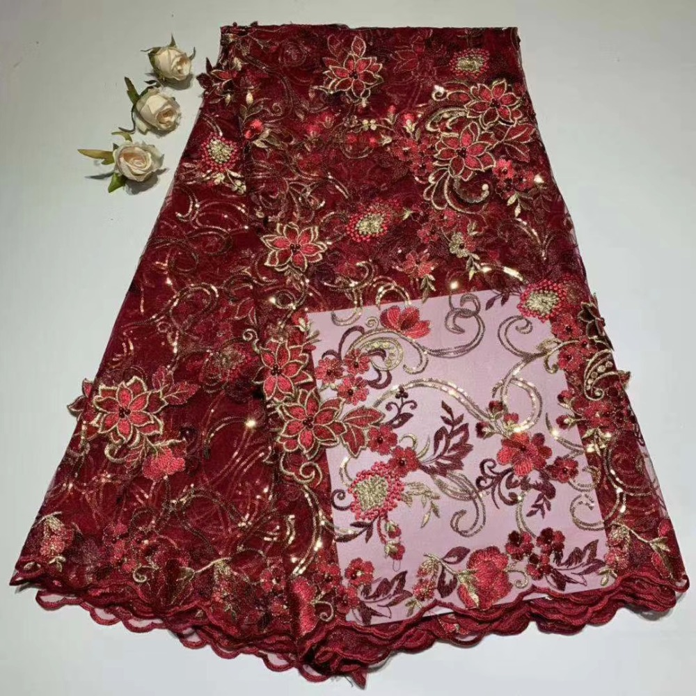 African Lace Fabric 2019 Embroidered Nigerian Laces Fabric High Quality French Tulle Lace Fabric For women dress  DFMA161African Lace Fabric 2019 Embroidered Nigerian Laces Fabric High Quality French Tulle Lace Fabric For women dress  DFMA161