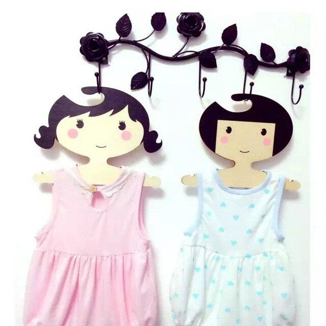 Niedlichen Cartoon Kinder Holz Mädchen Kleiderbügel Kleiderbügel Kreative  Für Kinder Kleidung Kinderzimmer Dekoration Handwerk Ornament Holzgestell
