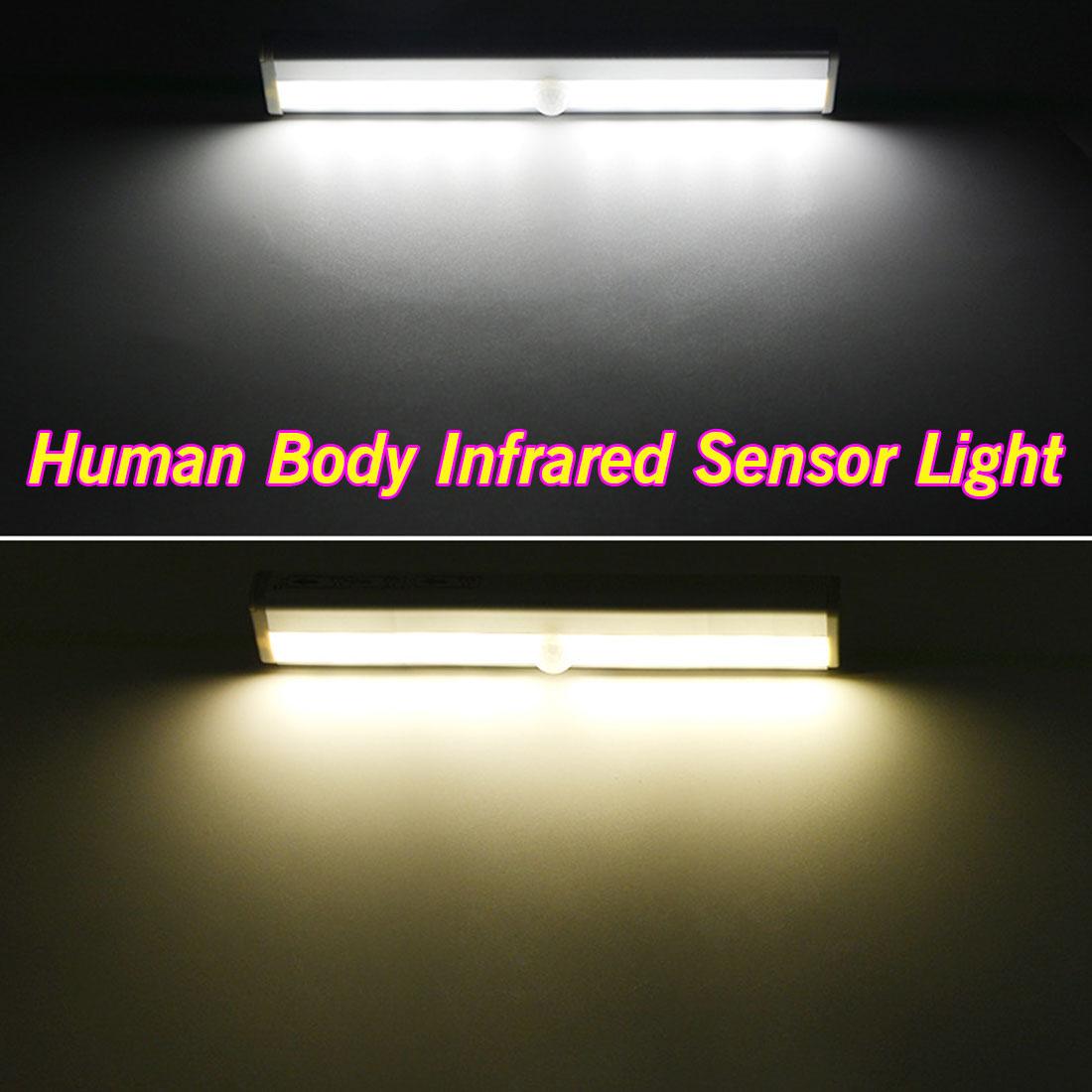 3 м клейкая лента шкаф светильник в шкаф 10 LED движения PIR сенсор свет автоматический свет зондирования ночник для магазина одежды