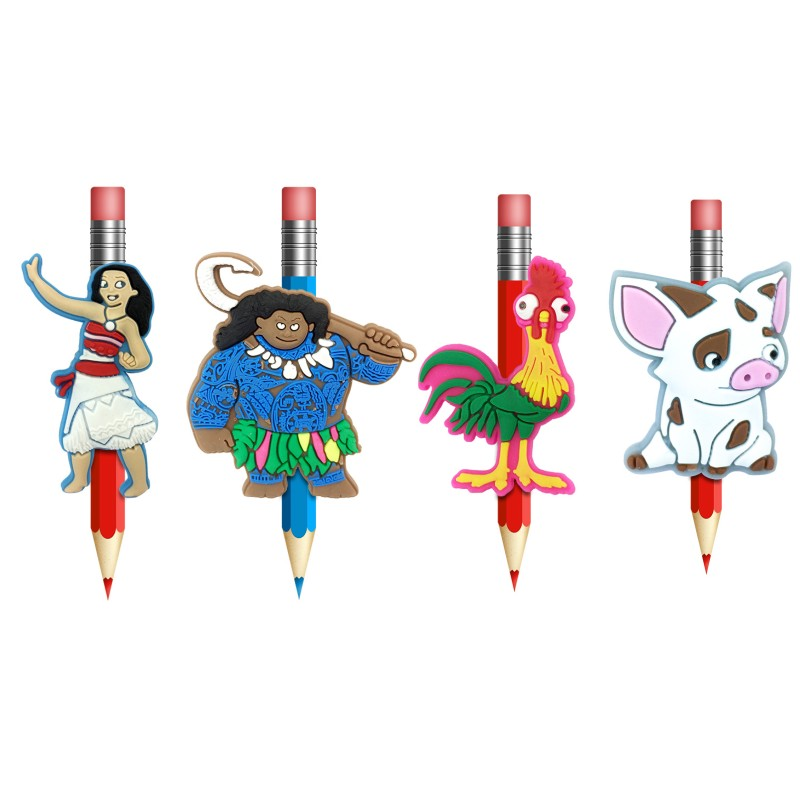Cheap Sale 1pcs Moana Cartoon Figures Pens Topper Kawaii Pencil Holder School Supplies Pencil Grip Kids Gifts Elegant Appearance Desk Accessories & Organizer
