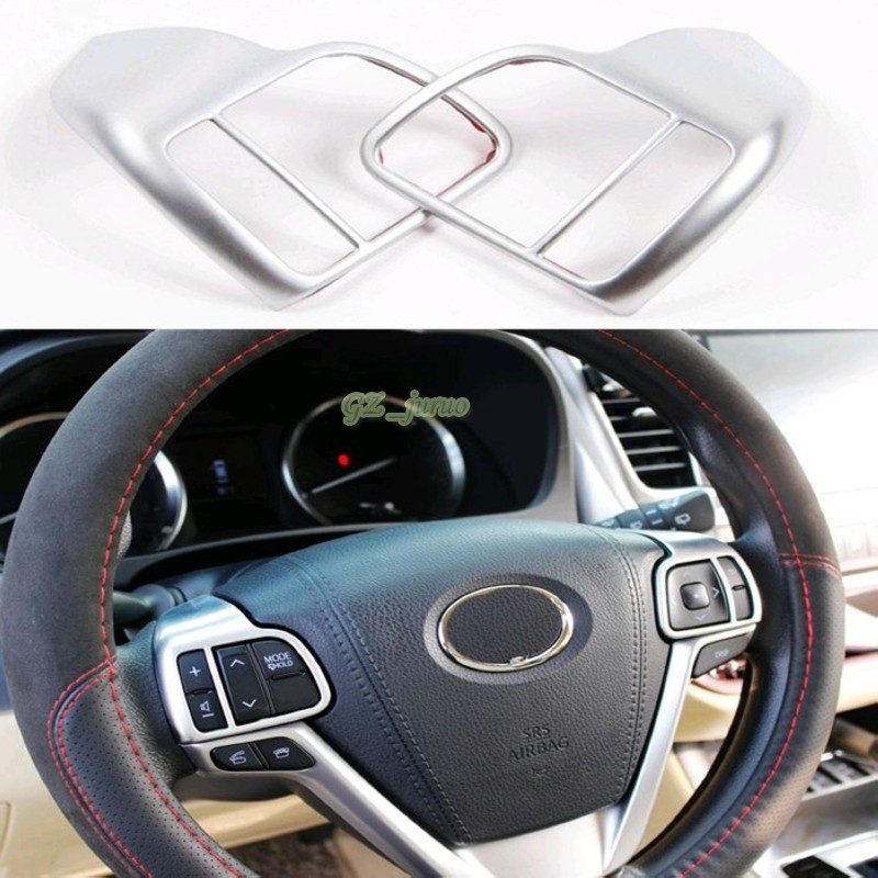 Automotive accessories 2PCS Chrome Silver ABS Steering Wheel Button Decals Trim For Toyota Highlander 2015
