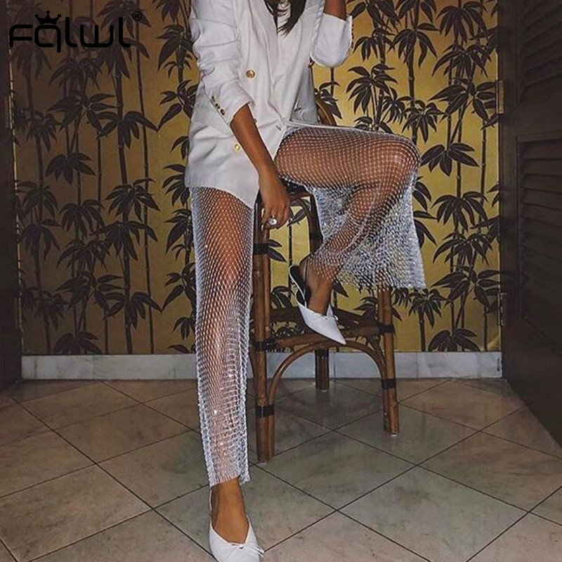 FQLWL Hollow Out Fishnet Summer Wide Leg Pants Women Trousers High Waist Skinny Pants Female Ladies Sexy Bodycon Flare Pants