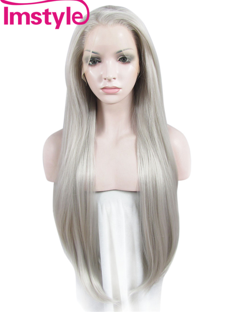 Imstyle silky Straight Grey 30 inches long synthetic hair lace front wig heat resistant for black women cosplay wigs