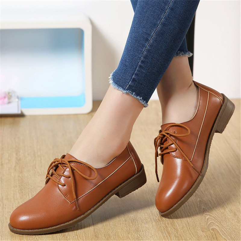 ZOQI New Casual Genuine Leather Flat Shoes Women Non-Slip Oxford Shoes For Women Lace-Up Black Ladies Shoes Zapatos Mujer 2018