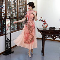 Shanghai Story Pink Vietnam ao dai Chinese traditional dress chinese dress qipao long Chinese cheongsam Folk Style dress