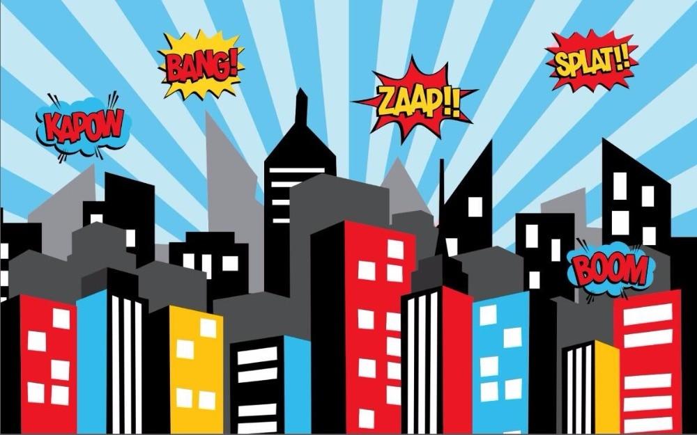 7x5ft super hero headquater buildings blue stripes custom photo background backdrop vinyl 220cm