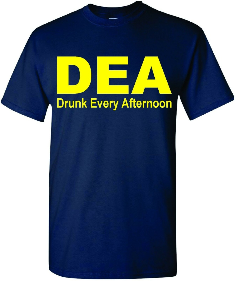Dea Drunk Every Afternoon Funny Men'S T-Shirt Tee Drinking Alcohol College Party 2019 New Brand Cheap Sale Cotton Funny Shirts image