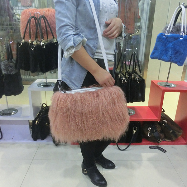 Fashionable long hair curly mongolian Lamb fur handbag real Tibetan sheep  fur cross body bag genuine goat fur shoulder bag-in Fur from Home   Garden  on ... 475807d8f3ec8