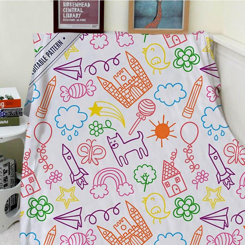 Super doux couvertures en peluche drôle enfant peint à la main papier avion bonbons crayon ballon canapé-lit jeter Cobertor enfants adultes couverture