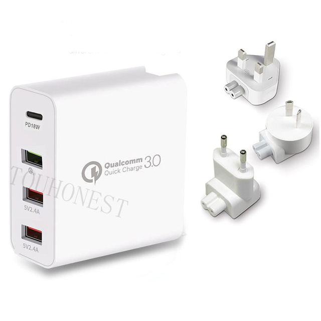 48W QC 3.0 Quick Charger 3.0 PD Type C USB Charger for Samsung iPhone Huawei Tablet Fast Wall Charger US EU UK AU Plug Adapter