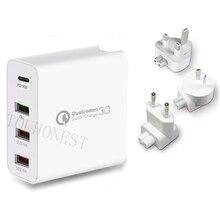 Быстрое зарядное устройство QC 3,0, 48 Вт, сетевое зарядное устройство с портом USB Type C 3,0 PD для Samsung, iPhone, Huawei, планшетов, адаптер с вилкой Стандарта США, ЕС, Великобритании, Австралии