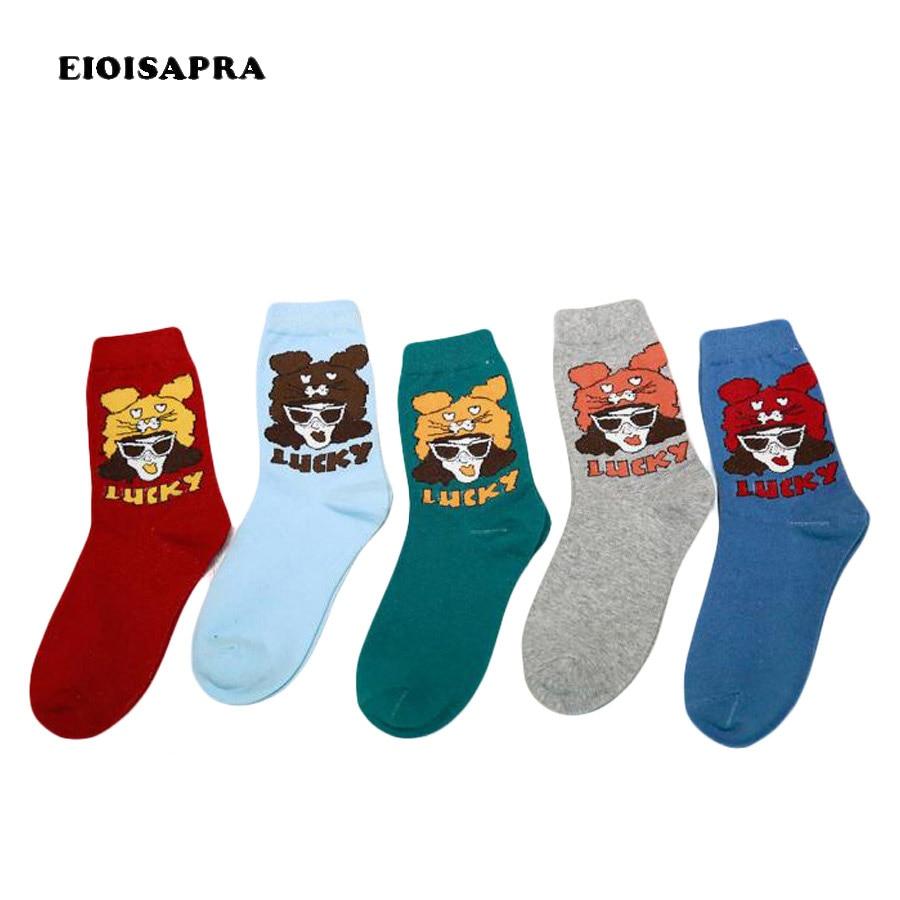 [Eioisapra] sexy meninas padrão design engraçado meias harajuku novidade meias colorido reto casual algodão calcetines mujer