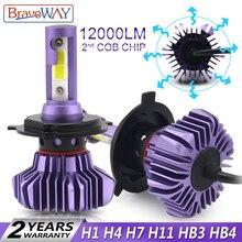 BraveWay H4 светодиодный лампы H1 H3 H11 H7 светодиодный H8 льдинка светильник для Atuo диодные лампы для автомобилей HB4 9006 HB3 9005 светодиодный 12000LM 12 V Лампочка H4